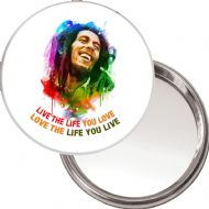 "Compact, Makeup Button Mirror with Bob Marley image ""Live the Life you Love, Love the Life you Live"" delivered in a black organza bag."